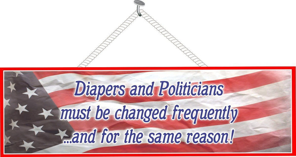 Funny Political Sign with American Flag Background