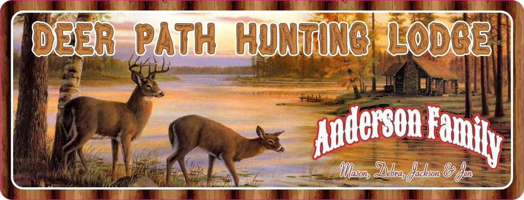 Doe & Stag Deer Path Hunting Lodge Sign with Log Cabin & Lake