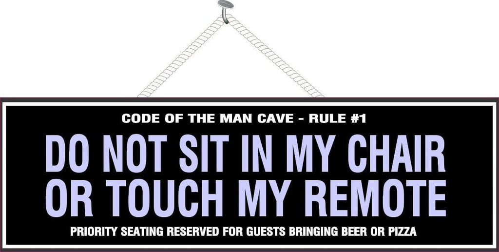Man Cave House Rules Sign in Black