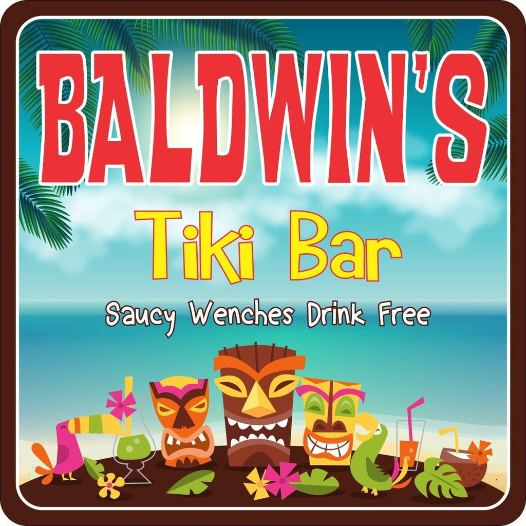 Tiki Mask Personalized Bar Sign with Island Background