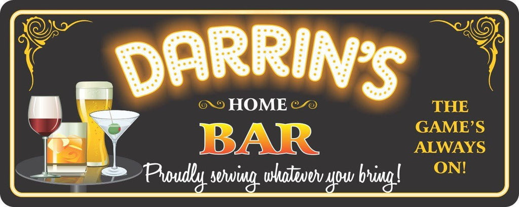 Black Personalized Home Bar Sign with Neon Light Font & Barware