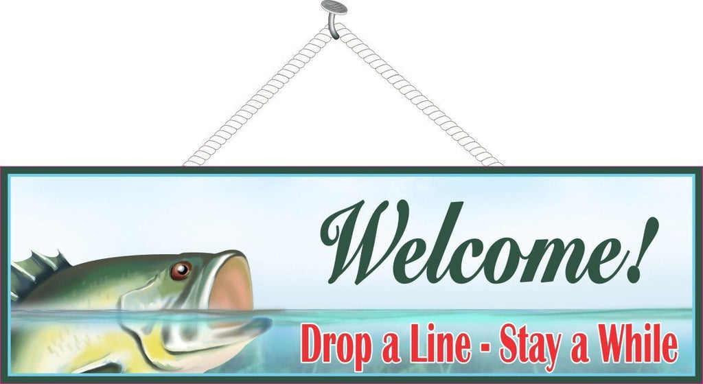 Green Fish Welcome Sign with Drop a Line Stay a While in Red