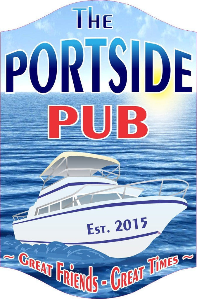 Portside Pub Personalized Sign with Ocean & Yacht