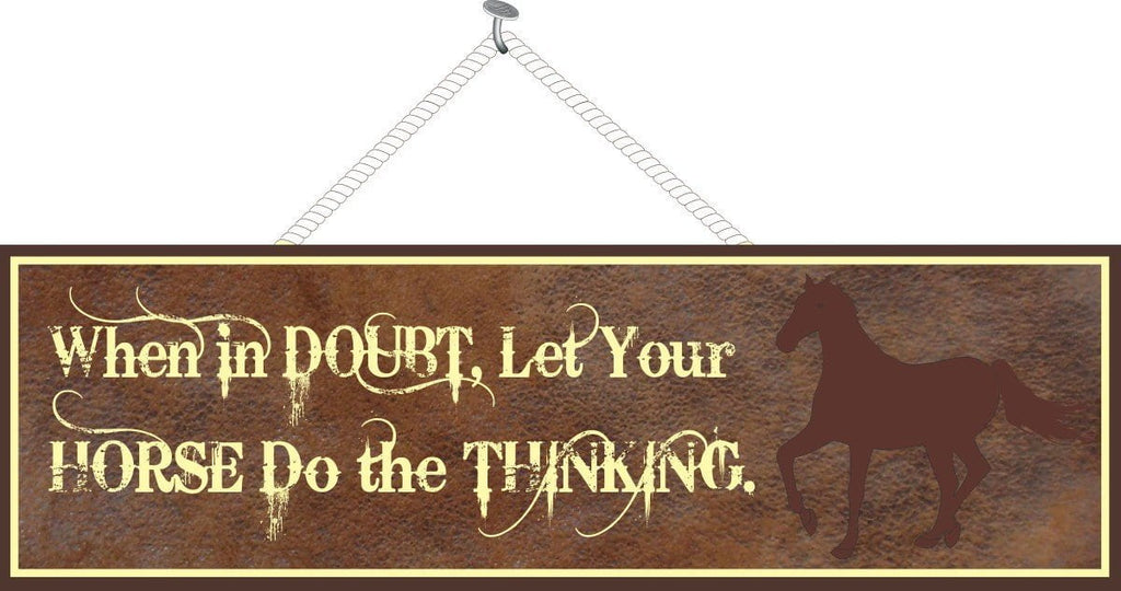 Rustic Horse Quote Sign with Silhouette & Leather-Look Background