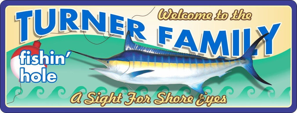 Fishin' Hole Personalized Welcome Sign with Custom Fish & Bobber