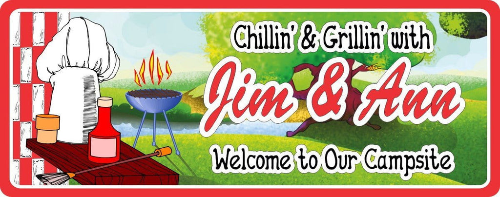 BBQ Grill Campsite Sign with Stream & Picnic Table
