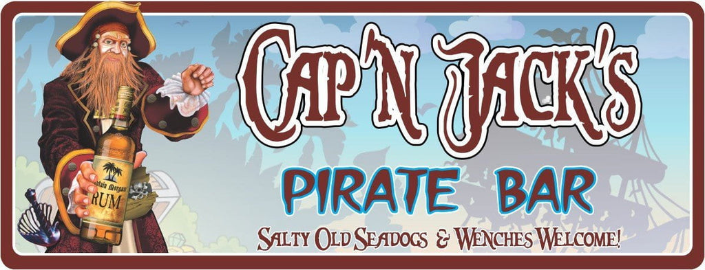 Captain Morgan Pirate Bar Personalized Welcome Sign with Vintage Text, Rum and Pirate Captain, Home Bar Sign, Personalized Welcome Sign