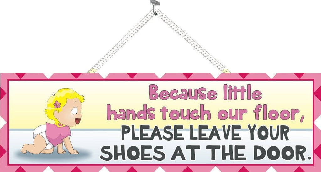 Take Off Your Shoes Baby Sign with Blonde Toddler in Diaper & T-Shirt