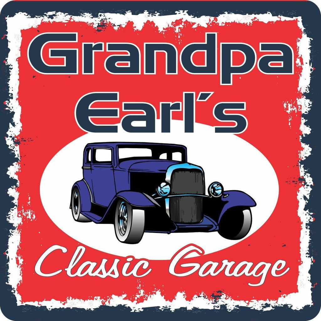 Blue Antique Car Garage Sign with Red Background