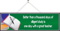 Teacher Quote Sign with Book and Pen