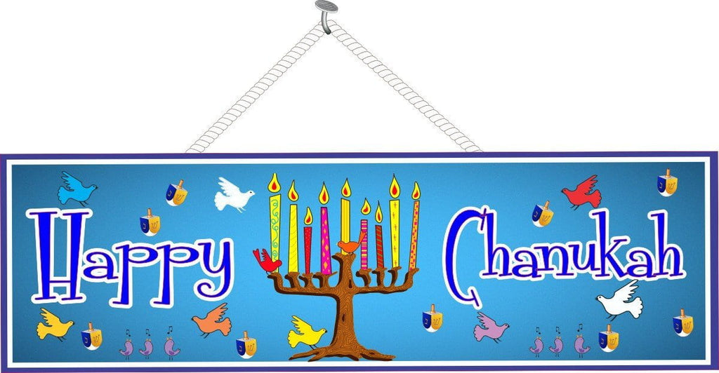 Blue Happy Chanukah Seasonal Décor with Birds & Dreidels