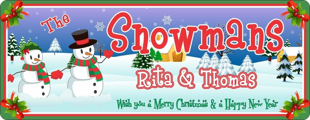 Snowman & Snowwoman Personalized Welcome Sign with Winter Scene