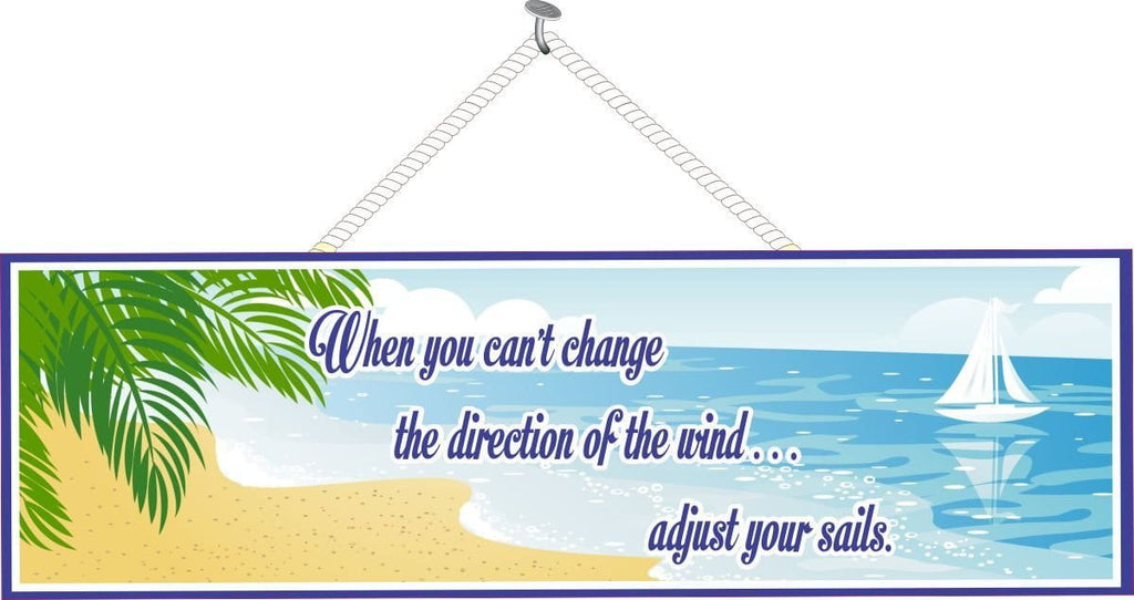 Adjust Your Sails Inspirational Quote Sign with Tropical Beach & Sail Boat