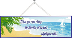 Inspirational Quote Sign with Sailboat & Palm Tree