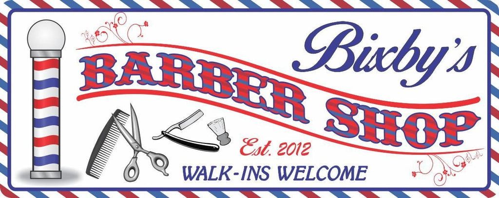 Classic Barber Shop Personalized Sign with Established Date, Barber Pole, Scissors, Straight Razor, Brush and Comb