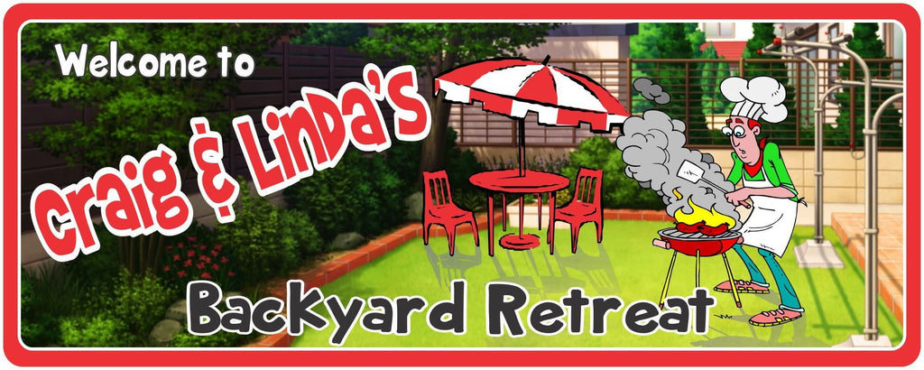 Backyard Retreat Personalized Welcome Sign with Grill, Lawn Furniture & Outdoor Umbrella