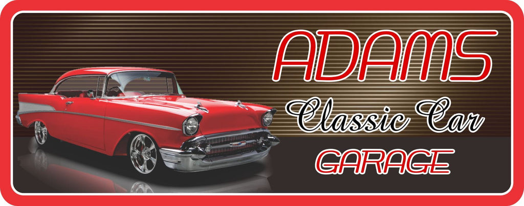 1957 Red Chevy Bel Air Classic Car Personalized Sign with Garage Scene and Vintage Font