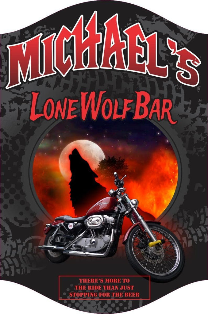 """Lone Wolf"" Biker Personalized Home Bar Sign, Biker Bar Décor, Heavy Metal Lettering, Howling Wolf And Full Moon Wall Art, Motorcycle Rider Gift"