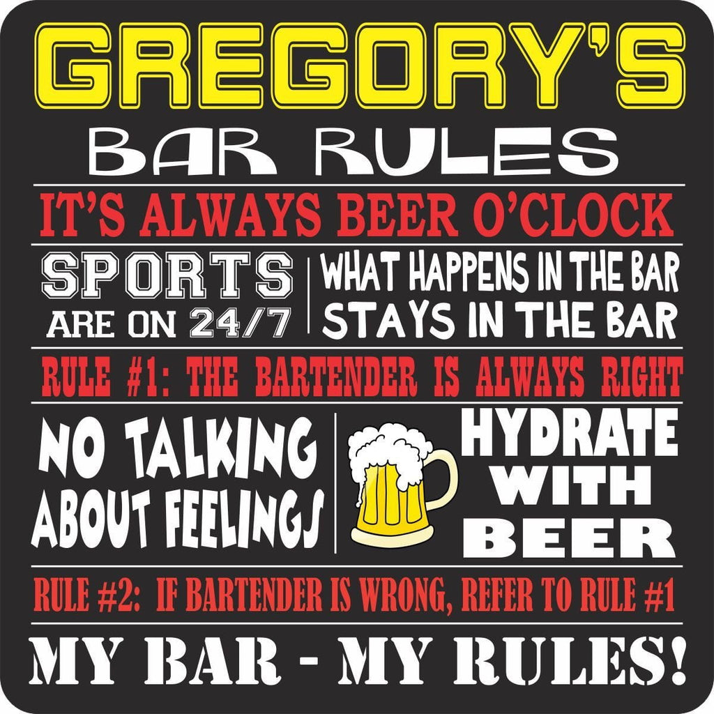 Personalized Bar Rules Sign with Funny Quotes and Beer