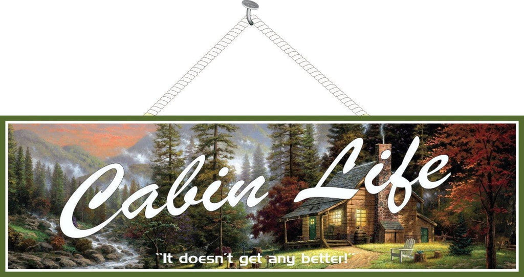 Cabin Life Rustic Cabin Sign with Breathtaking Forest Scene, Stream and Distant Mountains Surrounding a Quaint Cabin with Lights in the Windows