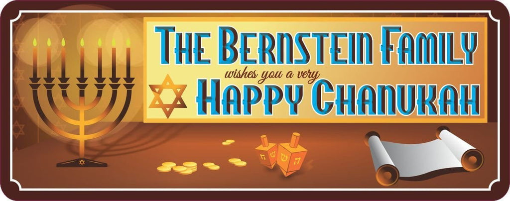 Happy Chanukah Personalized Holiday Sign with Scroll, Dreidels, Menorah & Gold Coins