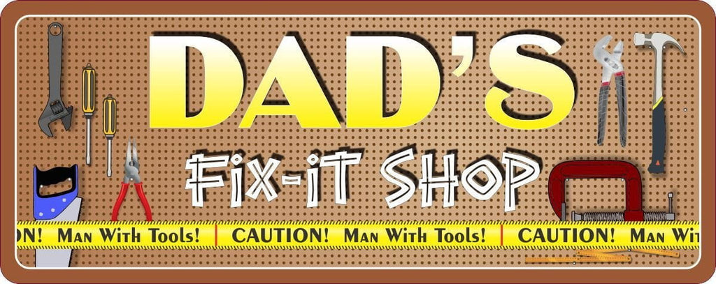 Dad's Fix It Shop Personalized Sign with Tools, Pegboard Background & Yellow Caution Tape
