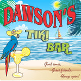 Blue Parrot Tiki Bar Sign with Martini & Beach Scene