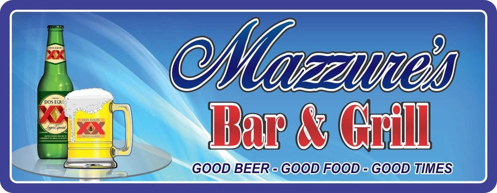 Personalized Blue Bar Sign with Beer on Table