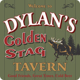 Golden Stag Tavern Rustic Welcome Sign with Deer & Pines