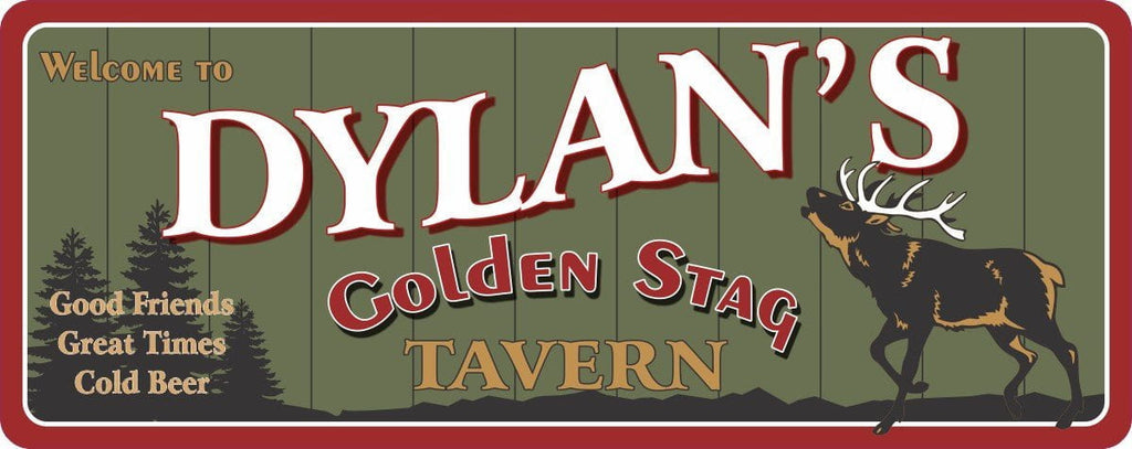 Golden Stag Personalized Tavern Sign with Rustic Background & Buck