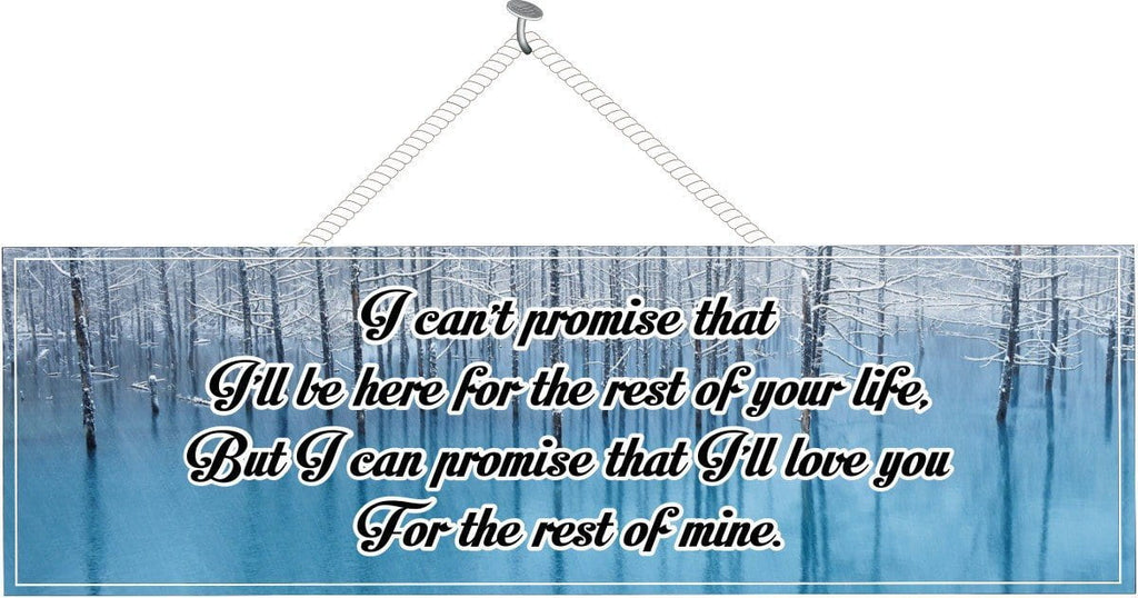Blue Love Quote Sign with Winter Scene