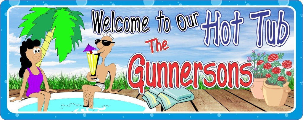 Hot Tub Welcome Sign Personalized with Custom Names, Deck, Cartoon Couple & Palm Tree