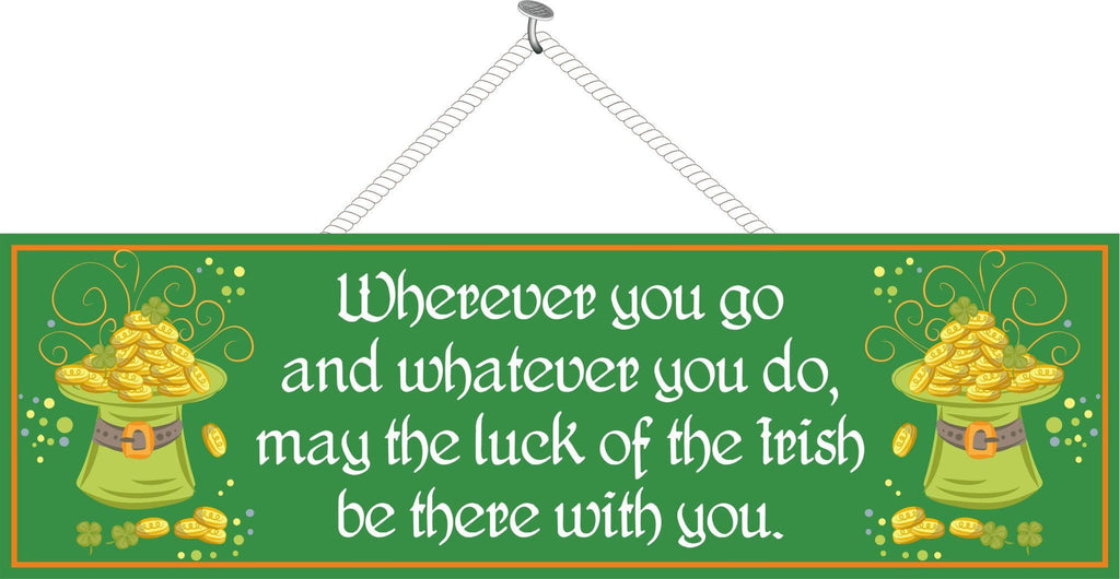 Green Irish Blessing Sign with Coins & Leprechaun Hats