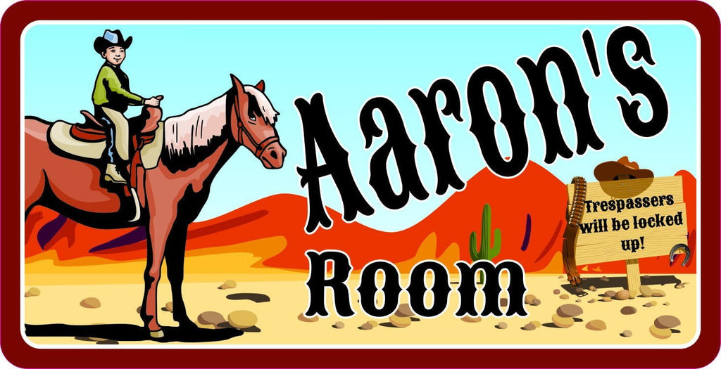 ... Classic Cowboy Kids Room Sign With Boy On Brown Horse