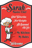Custom Kitchen Sign with Happy Waving Cartoon Female Chef