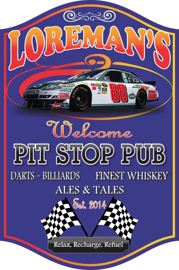 Pit Stop Pub Personalized Bar Sign with Race Car, Checkered Flags & Blue Background
