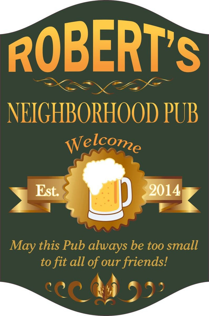 Neighborhood Pub Welcome Sign with Beer & Gold Accents