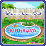 Round Swimming Pool Personalized Sign with Flowers & Fence