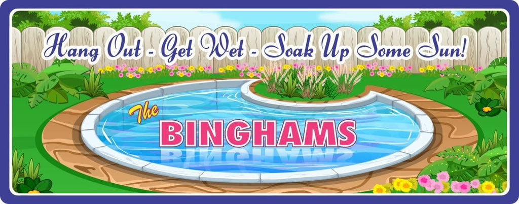 Elegant Custom Swimming Pool Sign with Round Pool, Flowers & Wood Fence