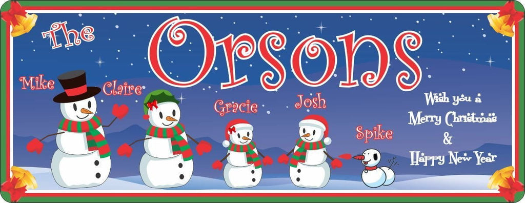 Snowman Build-Your-Own Family Holiday Sign with Bell Border & Custom Name