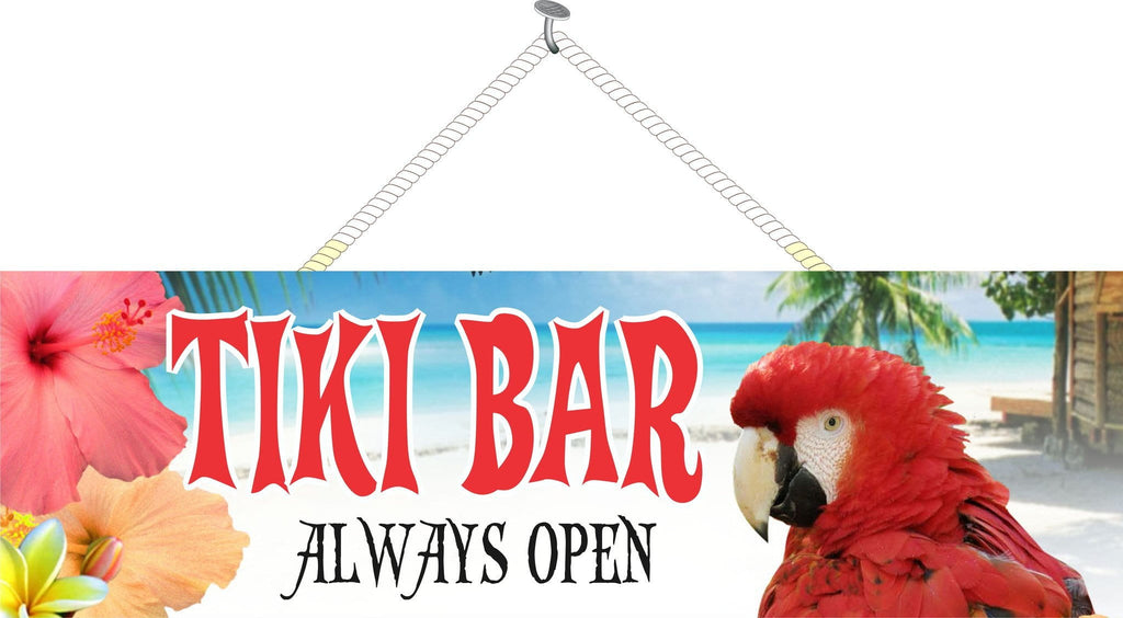 Red Parrot Tiki Bar Sign with Hibiscus