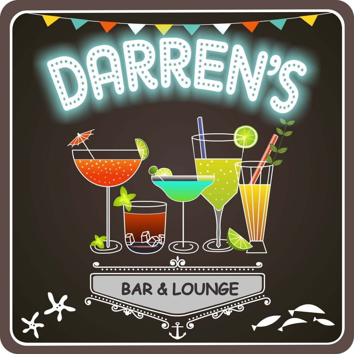 Neon Lights Personalized Bar Sign in Black with Stylized