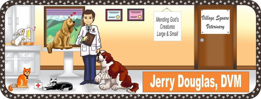 Personalized Veterinarian Sign with Cats and Dogs