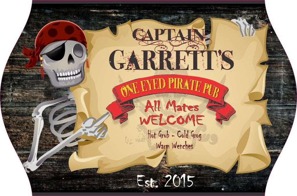 One Eyed Pirate Pub Personalized Home Bar Sign with Eye-patch Wearing Skeleton, Parchment Paper and Wood Plank Background