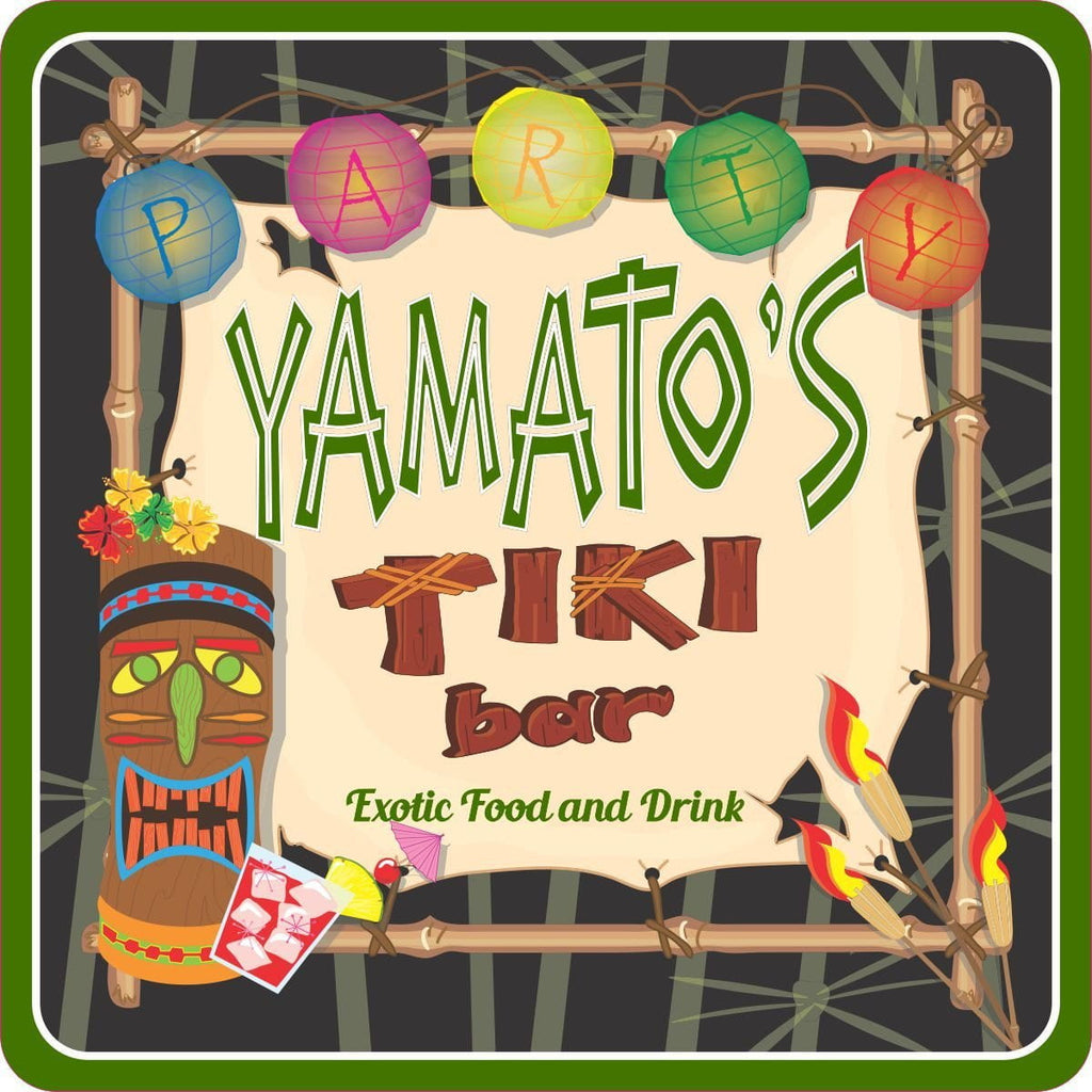 Tiki Mask Party Welcome Sign with Hanging Lanterns and Custom Name