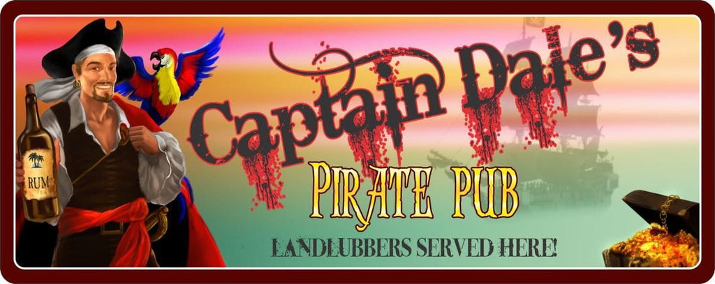 Pirate, Rum & Colorful Parrot Personalized Bar Sign