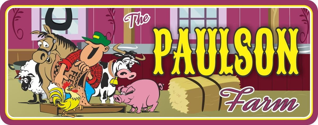 Cartoon Farmer Personalized Sign with Farm Animals & Hay Bale