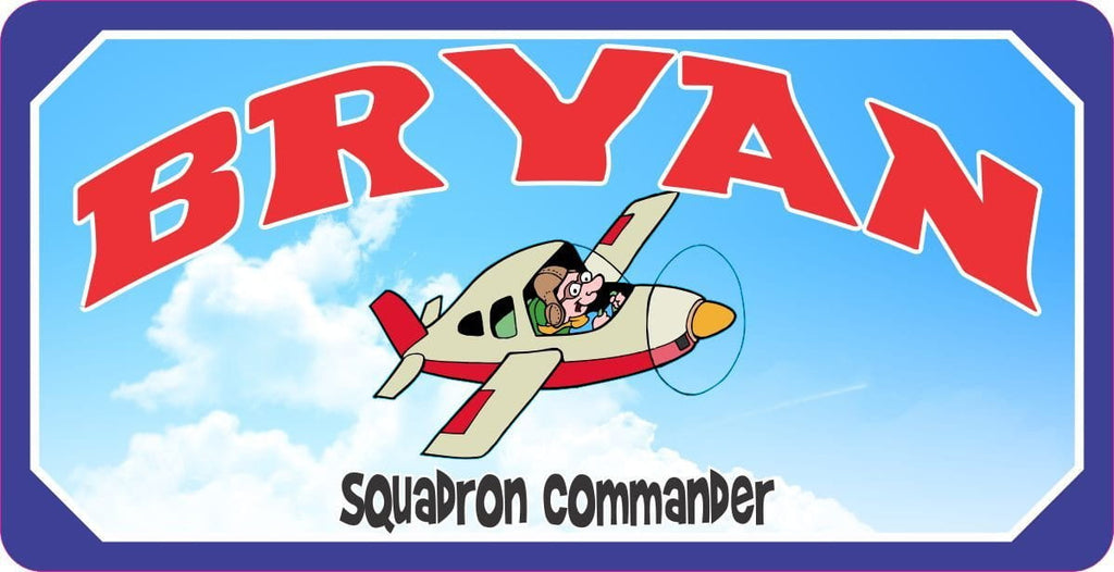 Kids Squadron Commander Airplane Sign with Cartoon Pilot
