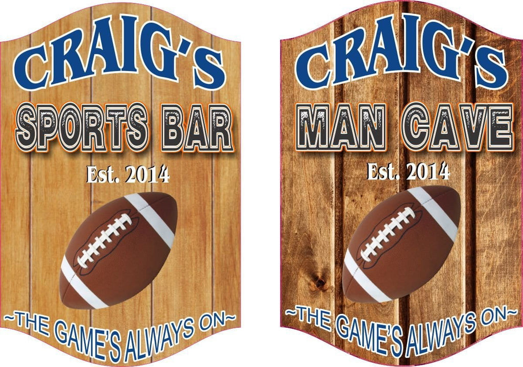 Man Cave Sports Ball Sign with Wood Plank Background and Established Date