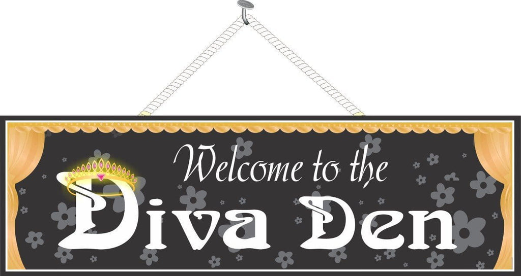 Diva Den Welcome Sign in Black with Gold Curtains & Glowing Tiara